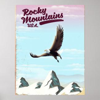 Poster das viagens vintage dos EUA das montanhas