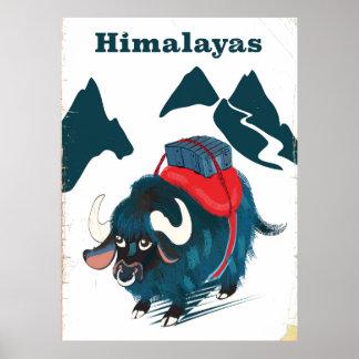 Poster das viagens vintage dos Himalayas
