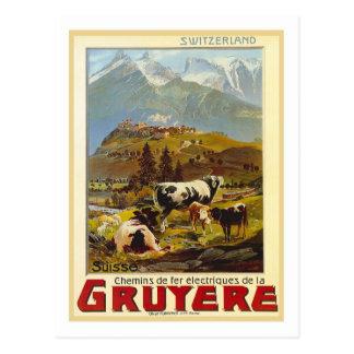Poster das viagens vintage, Gruyère Cartão Postal