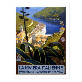 Poster das viagens vintage, italiano Riviera Cartão Postal