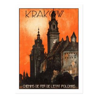 Poster das viagens vintage, Krakow Cartão Postal