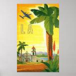 Poster das viagens vintage, Los Angeles, Califórni