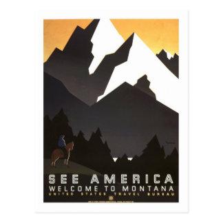 Poster das viagens vintage, Montana Cartão Postal