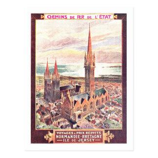 Poster das viagens vintage, Normandy Cartão Postal