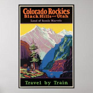 Poster das viagens vintage para as montanhas