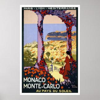 Poster das viagens vintage para Monaco & Monte -