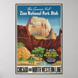 Poster das viagens vintage para o parque nacional