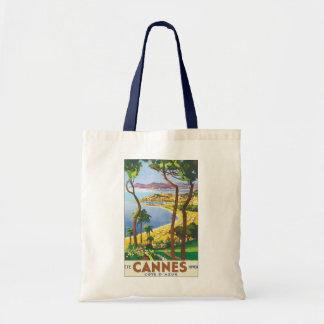 Poster das viagens vintage, praia em Cannes, Sacola Tote Budget