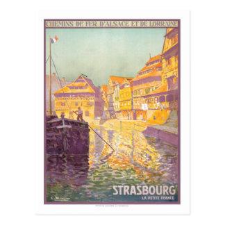 Poster das viagens vintage, Strasbourg Cartão Postal