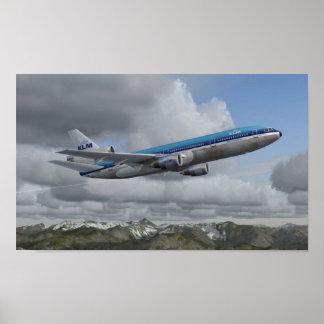 Pôster DC-10 KLM Dutch Airlines real de McDonnell Douglas