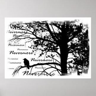 Poster - de B&W silhueta do corvo nunca mais