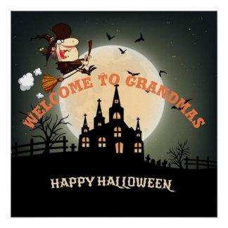 Pôster Dê boas-vindas à bruxa do Dia das Bruxas das avós