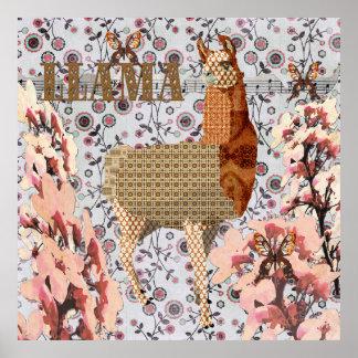 Poster de bronze brilhante do lama da flor de