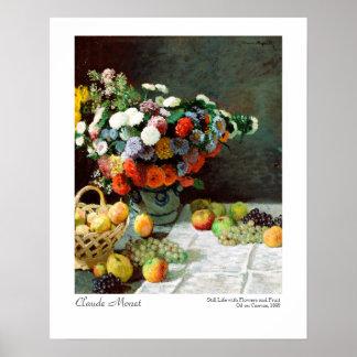 Poster De Claude Monet vida ainda com flores e fruta