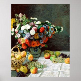 Pôster De Claude Monet vida ainda com flores e fruta