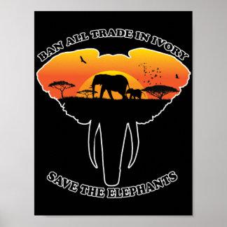 Poster de comércio do marfim da proibição