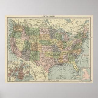 Poster de Estados Unidos da América do atlas 1920