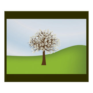 Poster de florescência branco 2 da árvore