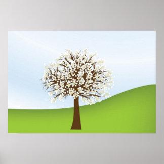 Poster de florescência branco da árvore