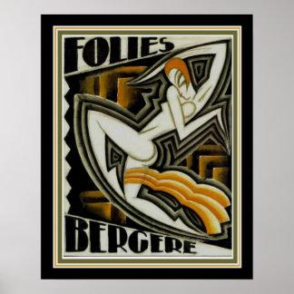 """Pôster , de """"impressão do art deco Folies Bergere"""" (1926)"""