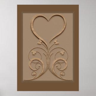 Poster de madeira cinzelado coração da parede dos
