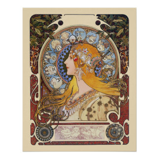 Poster de Nouveau da arte de Mucha - zodíaco - Pôster
