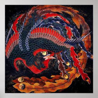 Poster de Phoenix do japonês de Hokusai Pôster