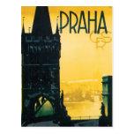 Poster de Praga do vintage (Praha) Cartão Postal