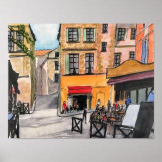 Poster de Provence France dos cafés