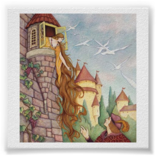 Poster de Rapunzel do estilo do vintage