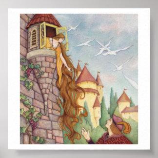 Poster de Rapunzel do estilo do vintage Pôster