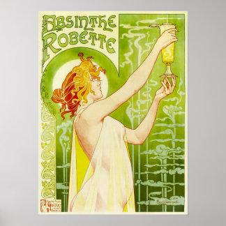 Poster de Robette do absinto de Alphonse Mucha