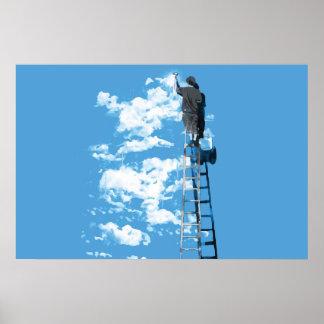 poster de tiragem das belas artes do céu azul