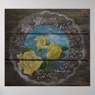 Poster de três rosas amarelos