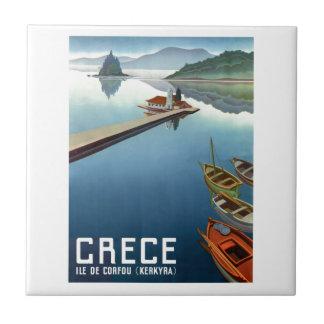 Poster de viagens 1949 da piscina de Corfu