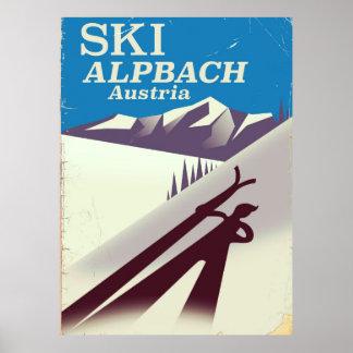 Poster de viagens austríaco do esqui de Alpbach