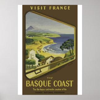 Poster de viagens Basque de France da costa do Pôster