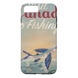 Poster de viagens da pesca de Canadá do vintage Capa iPhone 7 Plus