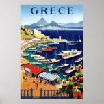 Poster de viagens da piscina de Atenas do vintage Pôster