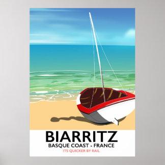 Poster de viagens da praia de Biarritz France