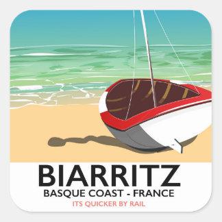 Poster de viagens da praia de Biarritz France Adesivo Quadrado