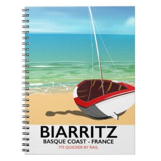 Poster de viagens da praia de Biarritz France Caderno
