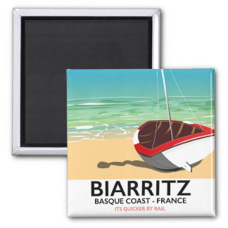Poster de viagens da praia de Biarritz France Imã