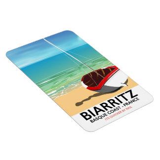 Poster de viagens da praia de Biarritz France Ímã