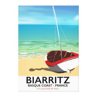 Poster de viagens da praia de Biarritz France Impressão Em Canvas