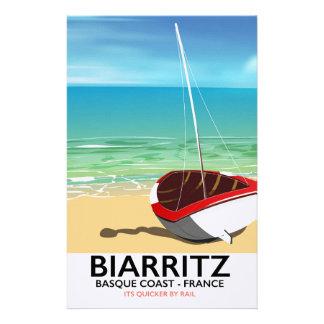Poster de viagens da praia de Biarritz France Papelaria