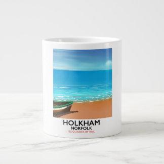 Poster de viagens da praia de Holkham Norfolk Caneca De Café Grande