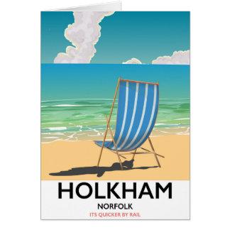 Poster de viagens da praia de Holkham Norfolk Cartão
