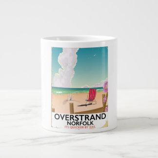 Poster de viagens da praia de Overstrand Norfolk Caneca De Café Grande