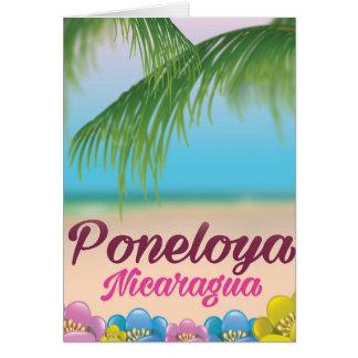 Poster de viagens da praia de Poneloya Nicarágua Cartão Comemorativo